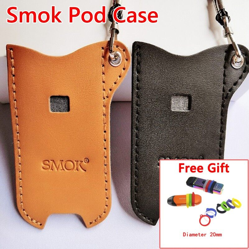 SMOK Nord Leather Case Smoknord Accessories Non-slip Anti-lost with Free Lanyard - BLACK+FREE GIFT / BROWN+FREE GIFT / 1 Piece 20MM SMOK RING