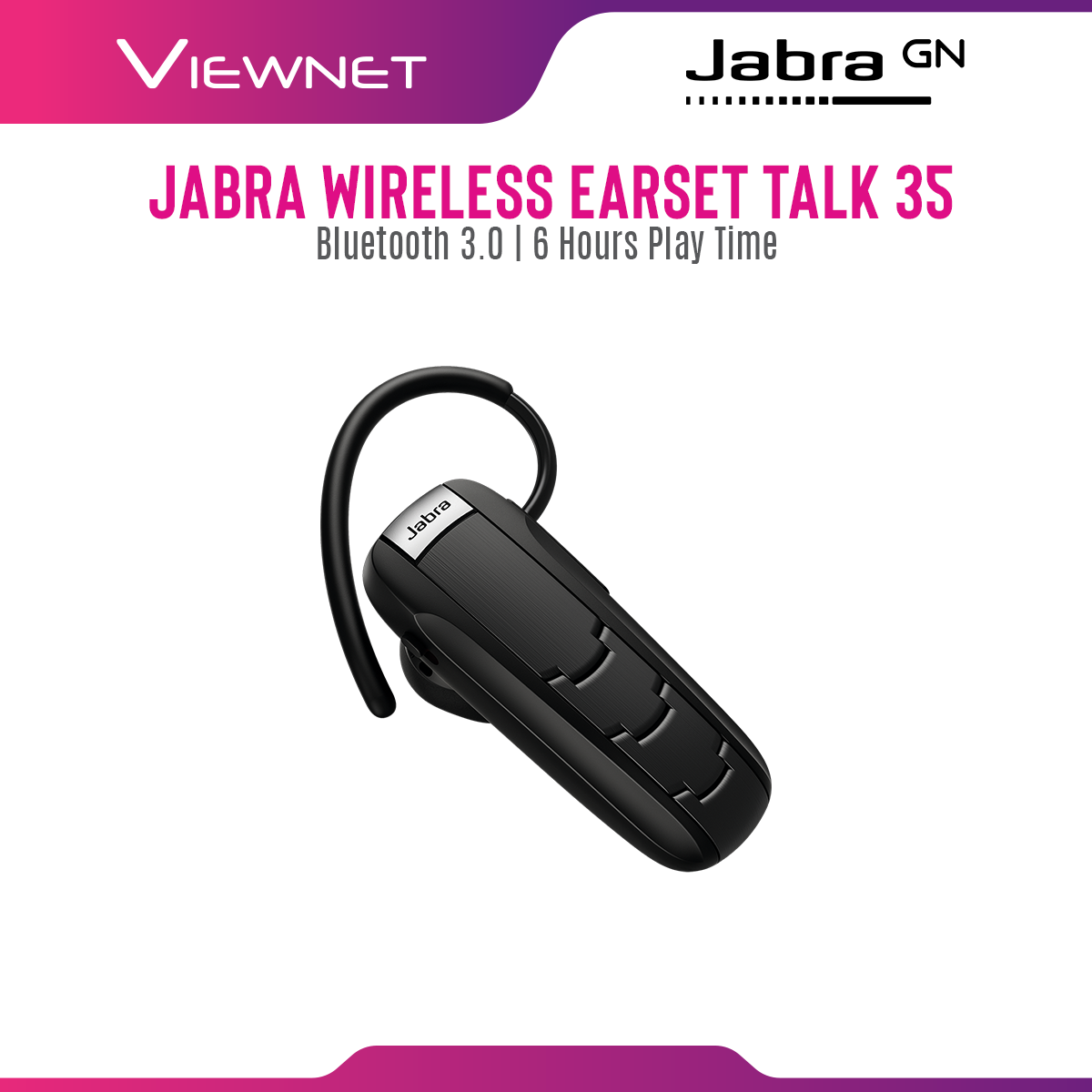 Jabra Wireless Headset Talk 35 with Bluetooth 3.0 Connection, 6 Hours Play Time, HD Voice, Noise Cancellation, Long Lasting Calls