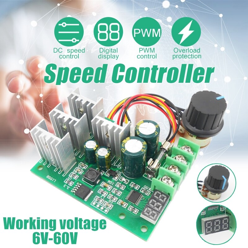 DIY Tools - 6V60V 30A PWM DC Motor Speed Controller Adjustable Switch LED CPU Fan Dimmer - Home Improvement