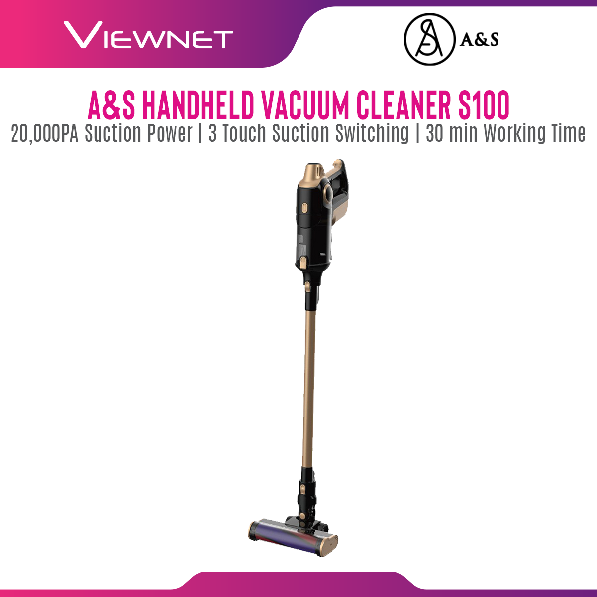A&S S100 Handheld Handy Cordless Vacuum Cleaner with 20,000PA Suction Power, 3 Touch Suction Switching, 30 min Working Time