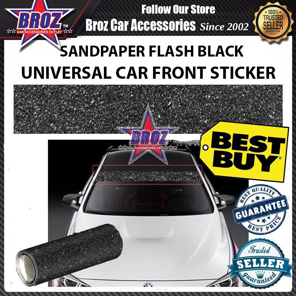 Broz 130cm x 25cm Sandpaper Flash Black UNIVERSAL Wrap Car Front Rear Window Sticker