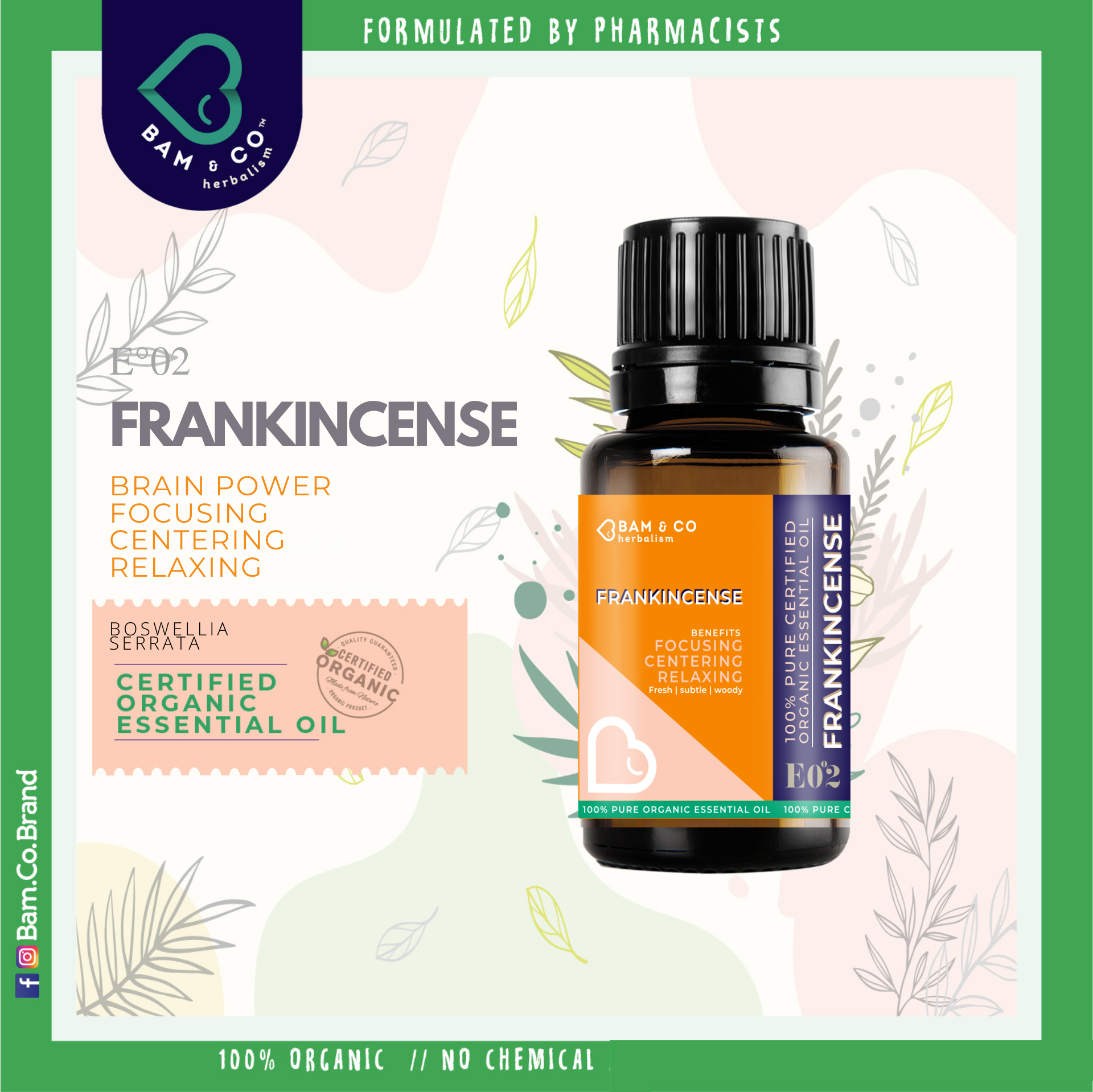 BAM & CO. FRANKINCENSE CERTIFIED PURE ORGANIC ESSENTIAL OIL PERFECT FOR HUMIDIFIER 5ML 10ML