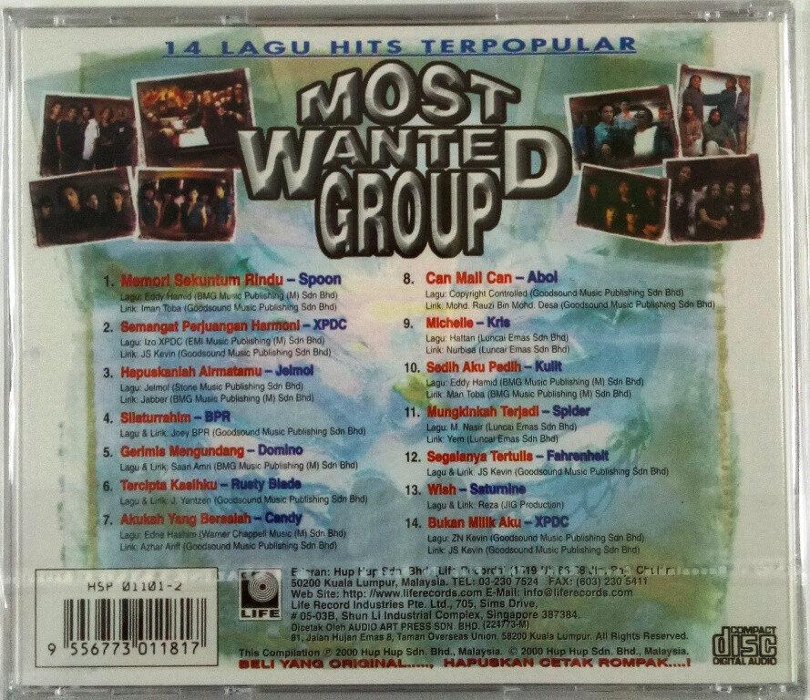 Most Wanted Group 14 Lagu Hits Terpopular CD Spoon / XPDC / Jelmol / BPR / Rusty Blade / Aboi / Kris / Spider
