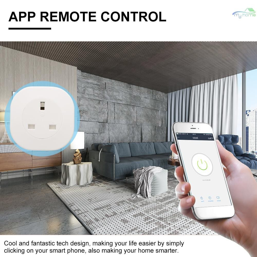 Plugs & Adapters - Smart Power Plug Smart Home Socket Voice Control Compatible with Amazon Echo & for Google Home - WHITE