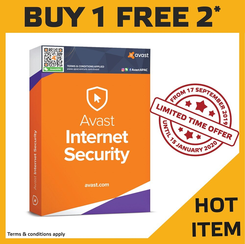 Avast Internet Security 1 User 1 Year (Free Additional 1 User 1 Year)