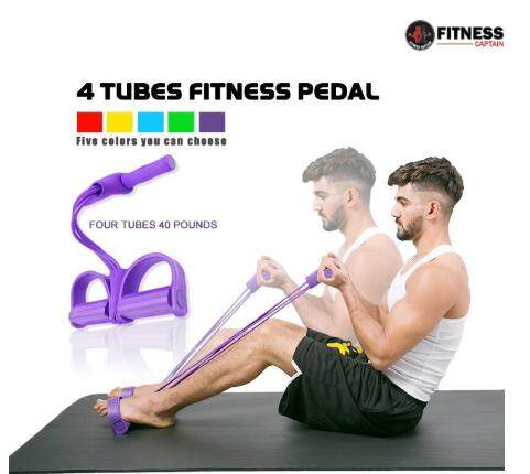 Fitness Captain 4 Tube Exercise Elastic Bands Pedal Rope For Home Workout