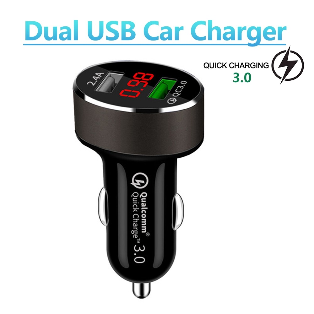 Chargers - QC 3.0 2 USB Auto Car Charger Adapter LED Display For i-Phone Android Sam-sung - Cables