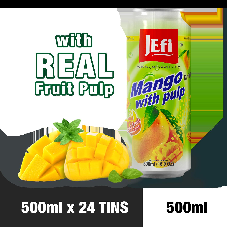 JEFI Mango Drink with Real Fruit Pulp (500ml x 24tins)