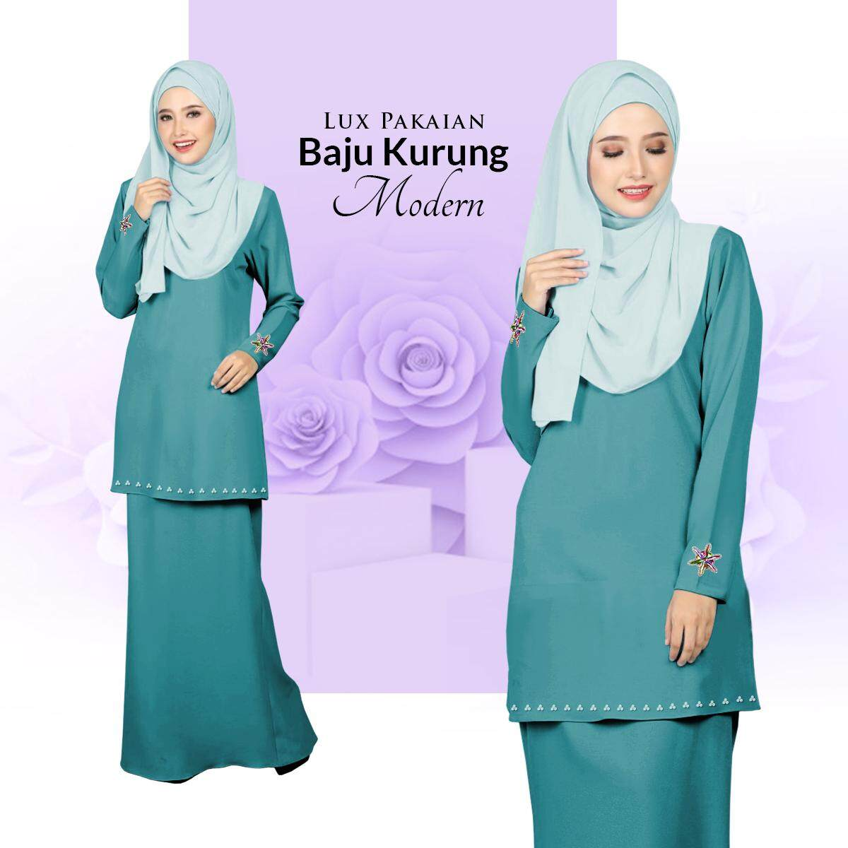 New Collection Lux Pakaian Baju Kurung Modern with Stylish Bunch & Batu Terkini