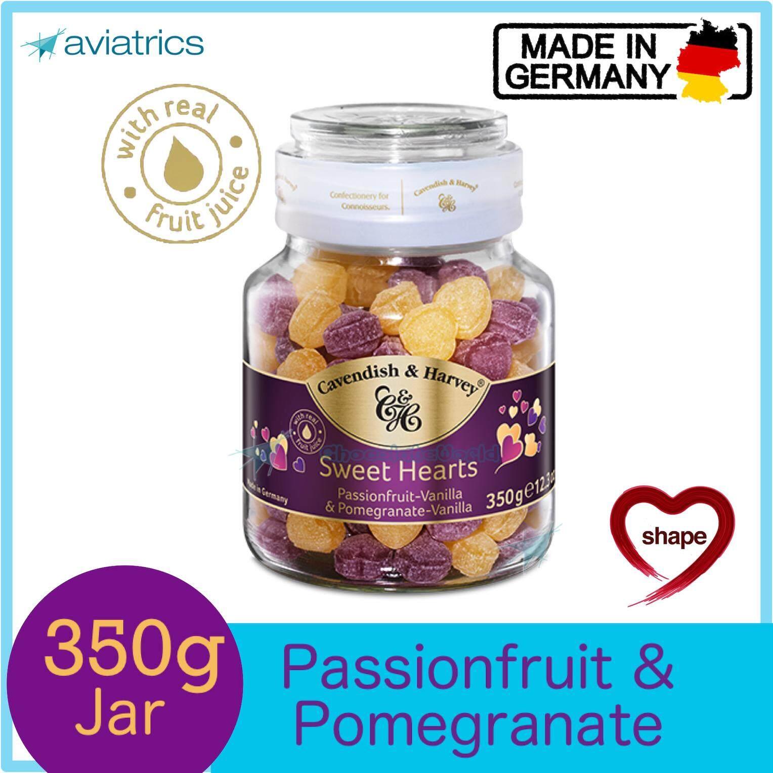 Cavendish Harvey Pasionfruit & Pomegranate Vanilla Heart Shape Drops 350g (Made in Germany)