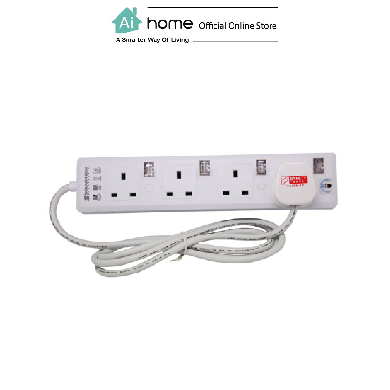 SOUNDTEOH PS-114 Extension Socket 4 Gang With Blueneon with 1 Year Malaysia Warranty [ Ai Home ] SOUNDTEOH Extension Socket 4 Gang