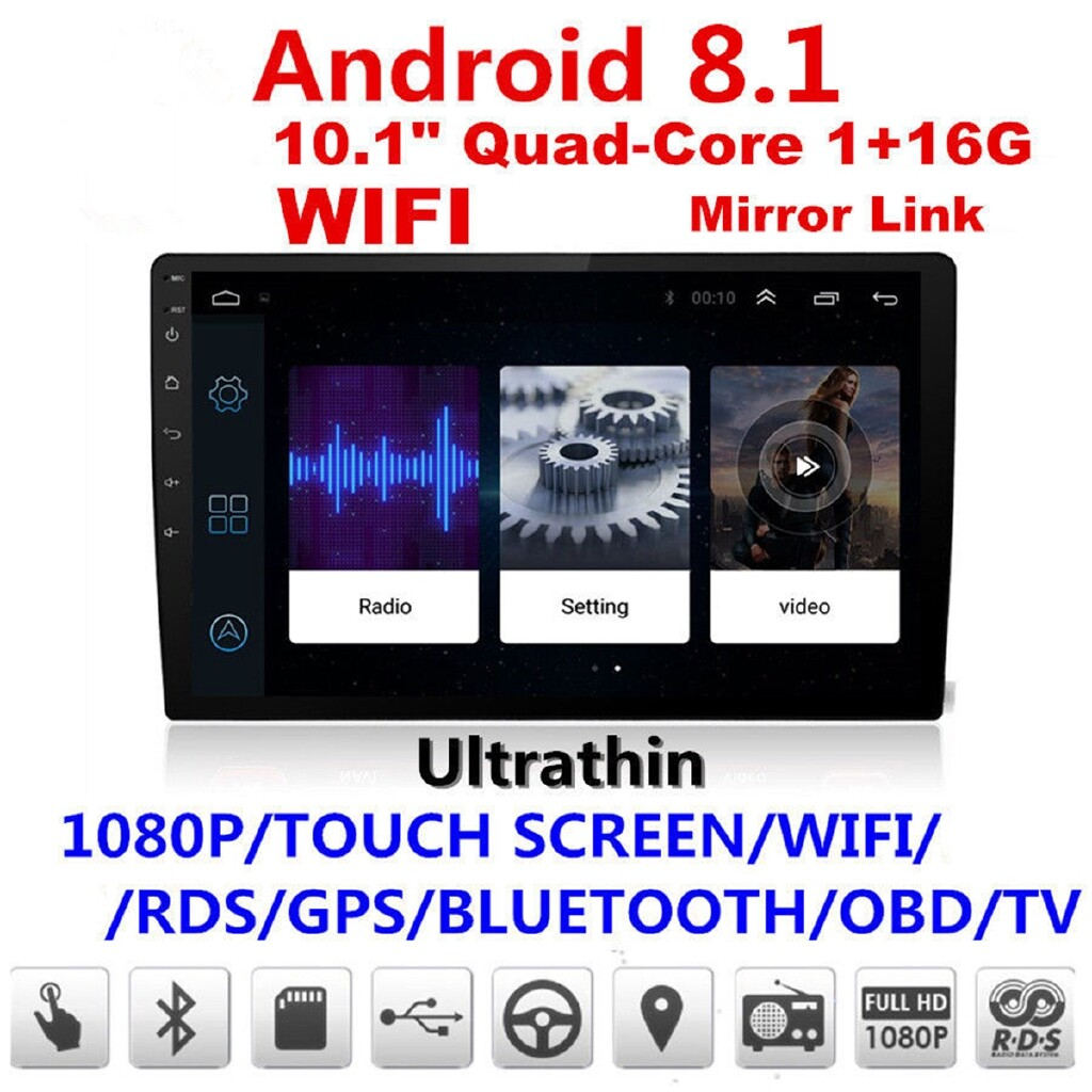 Radios - Android 8.1 Double 2Din 10.1 HD Quad-Core Car Stereo Radio GPS Wifi Mirror Link - Audio