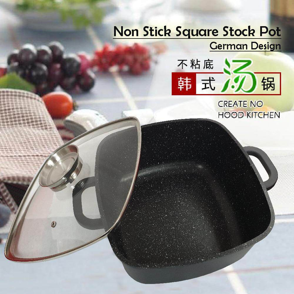 [Ready Stock] Marble Non Stick Square stock pot 28CM with Glass Lid
