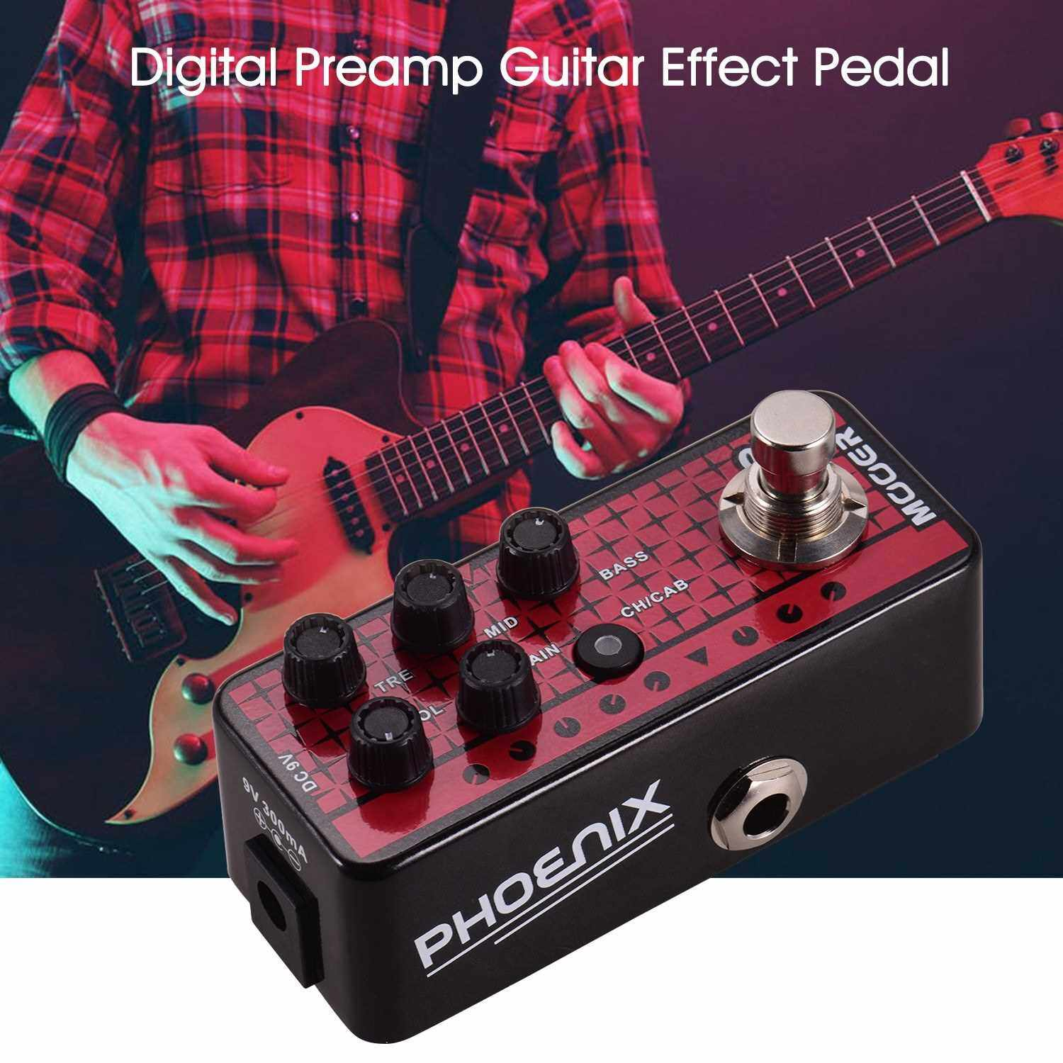 Best Selling Mooer MICRO PREAMP Series 016 PHOENIX Digital Preamp Preamplifier Guitar Effect Pedal Cabinet Simulation Dual Channels 3-Band EQ with True Bypass (Standard)