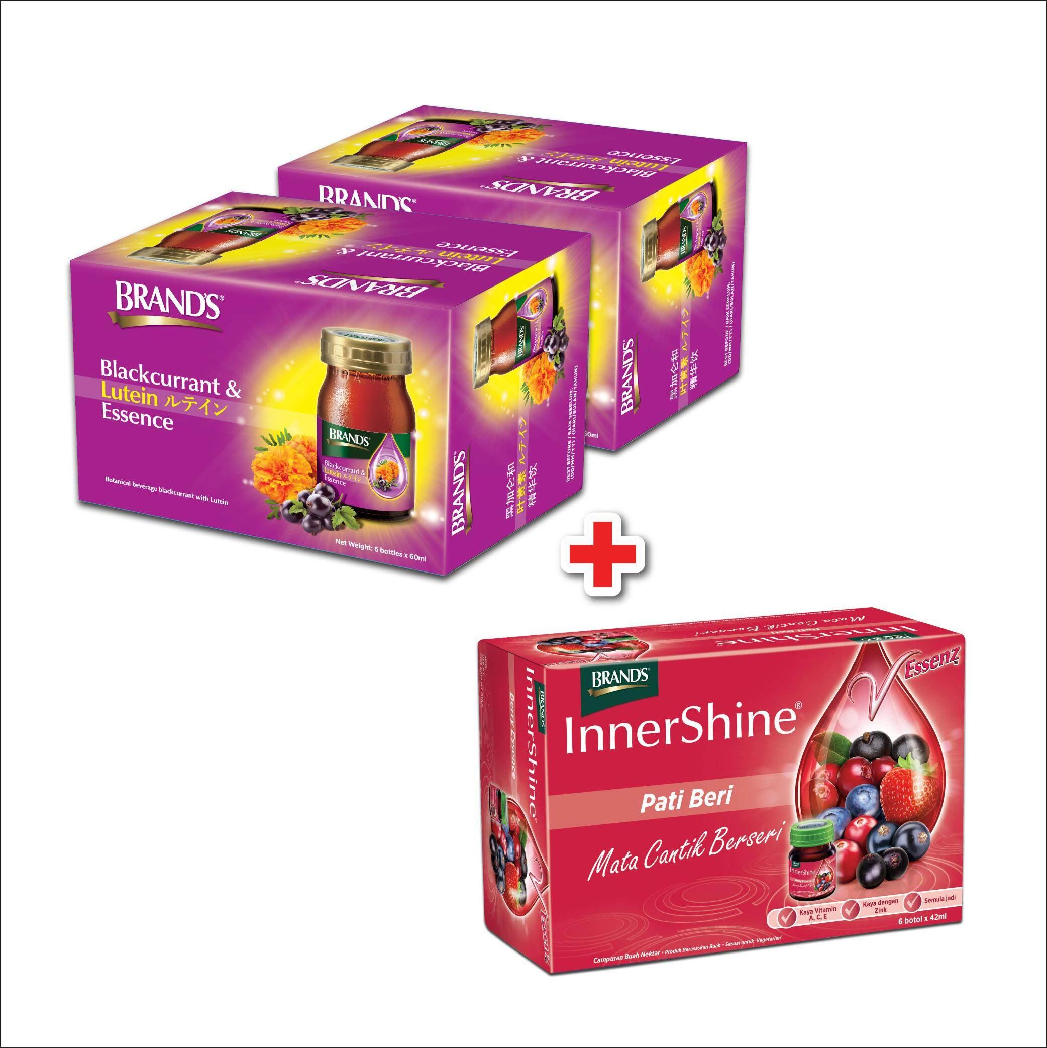 Brand\'s Blackcurrant & Lutein Essence 6\'s x 2 packs + BRAND\'S InnerShine Berry Essence (6\'s) - 6 bottles x 42ml