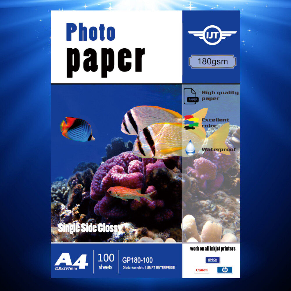 Glossy Photo Paper A4 Size 100Sheets 135g / 160g / 180g 100s Waterproof 135gsm / 160gsm / 180gsm (Each Pack 100 Sheets) I JIMAT