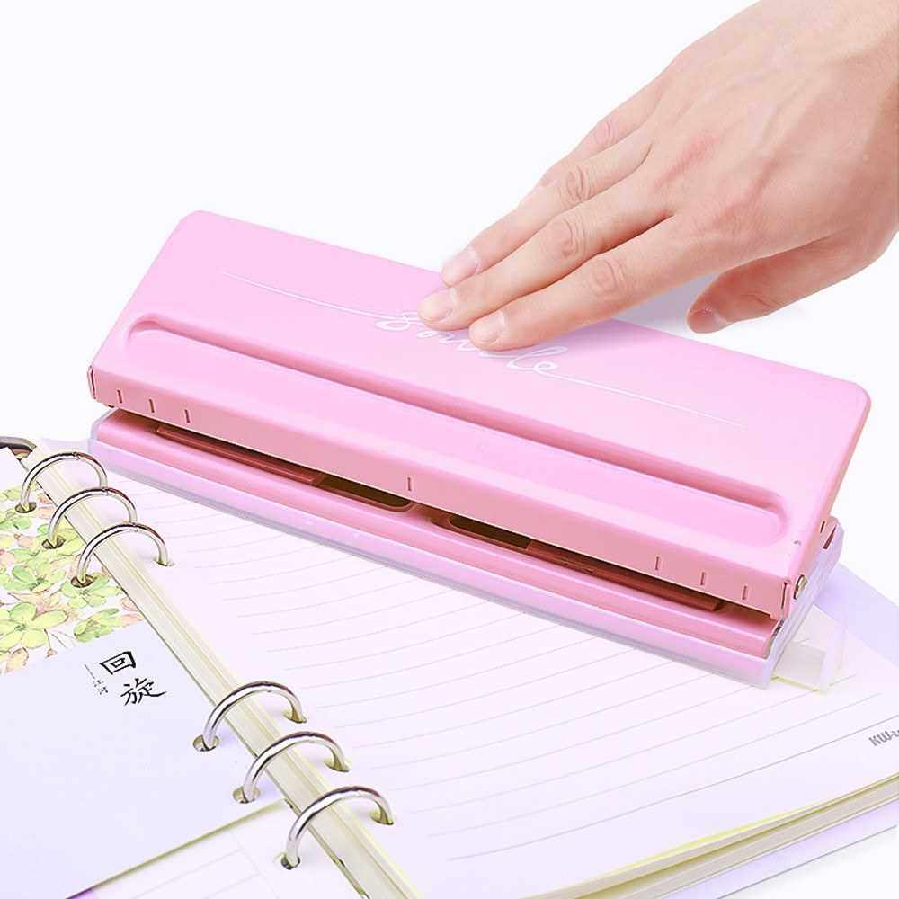 Adjustable 6-Hole Desktop Punch Puncher for A4 A5 A6 B7 Dairy Planner Organizer Six Ring Binder with 6 Sheet Capacity (Pink)