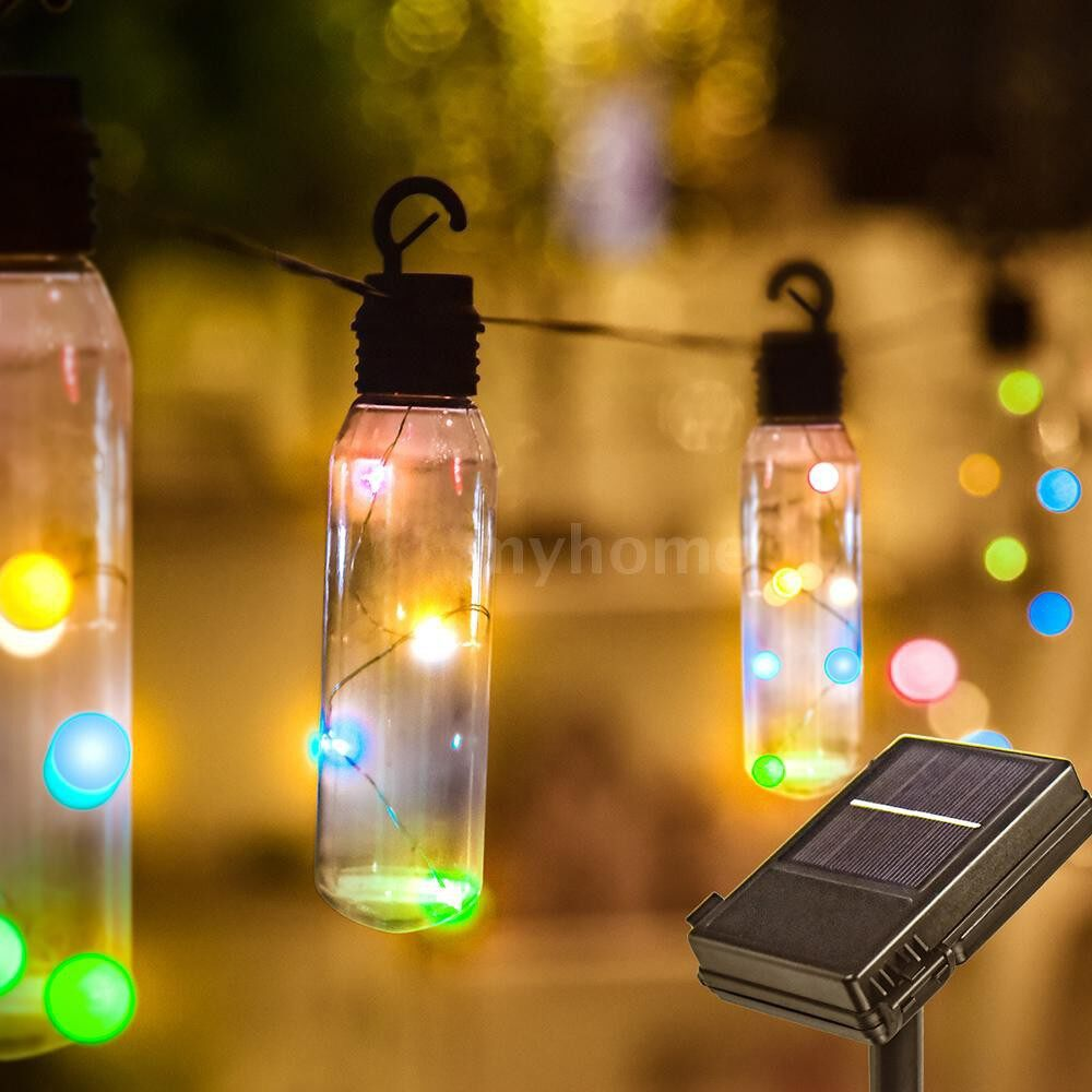 Lighting - DC4.5V 2.5W 24.6ft 7.5m 96 LEDs Multi-color Solar Powered Energy Hanging String Lights Outdoor Two - MULTICOLOR / WARM WHITE