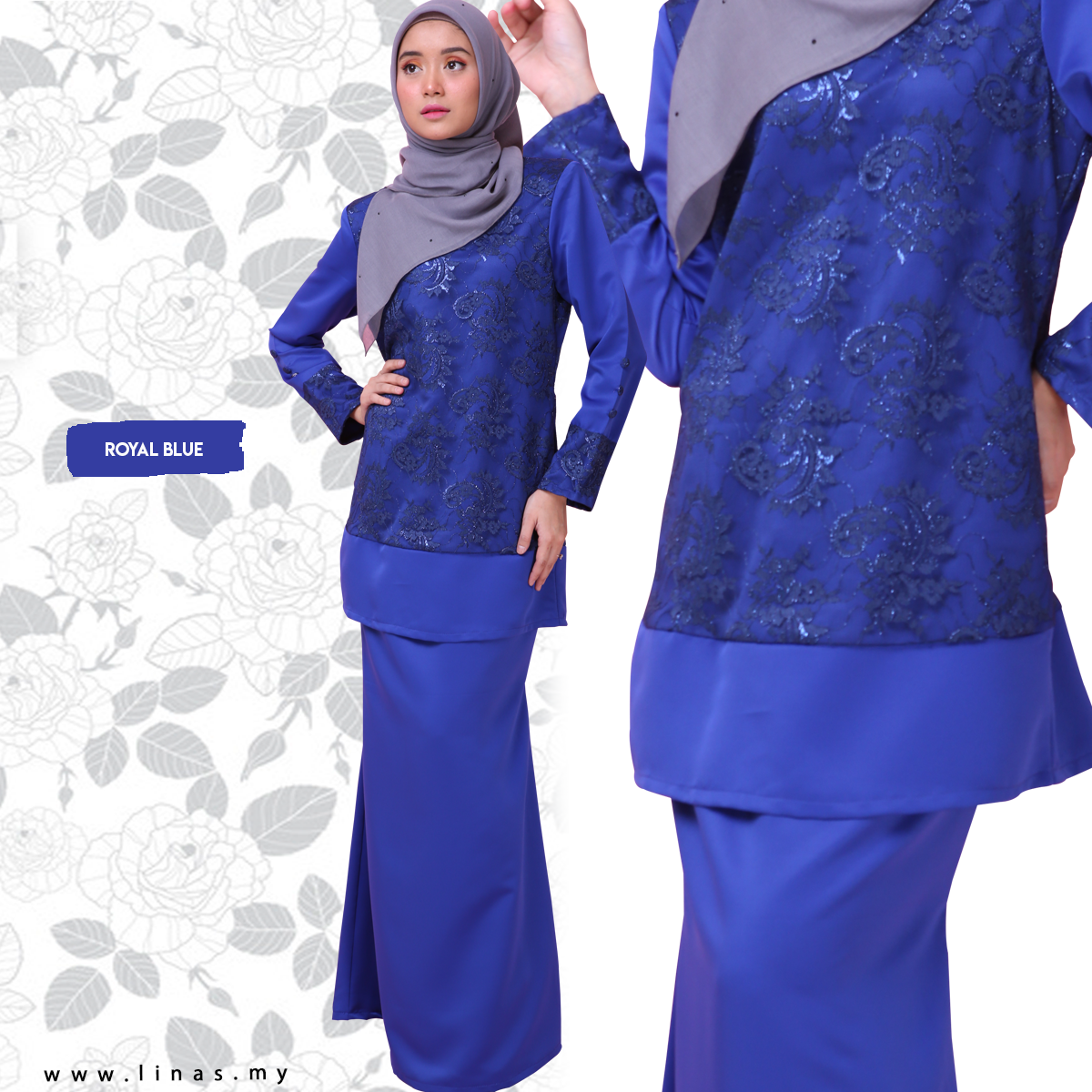 Kurung Moden Lace ELVINA by LINAS FASHION