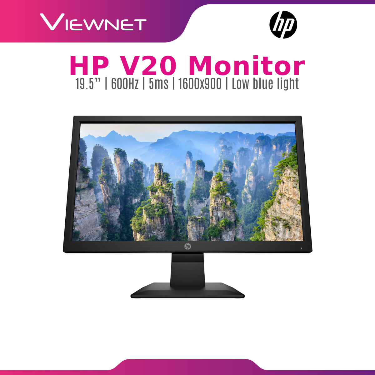 HP Monitor V20 19.5-inch LED Backlit HD+ Monitor Anti Glare (1H849AA) Support CCTV Camera