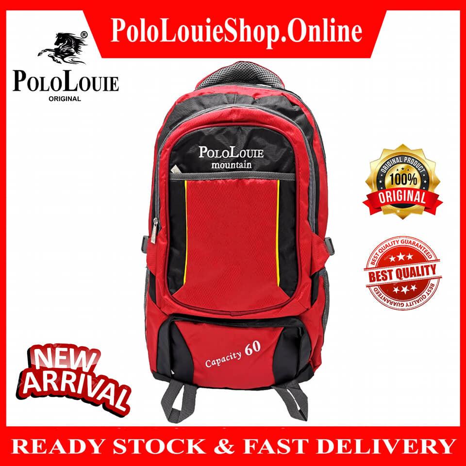 Original Polo Louie Mountain Unisex Hiking Backpack 60L Bag Travel Sport Large Capacity Beg0399-888 (Black)