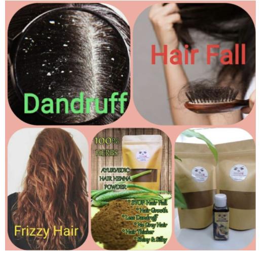 COMBO SET 2 - 1 set of Ayurvedic Hair Henna Powder and Ayurvedic Hair Care Oil