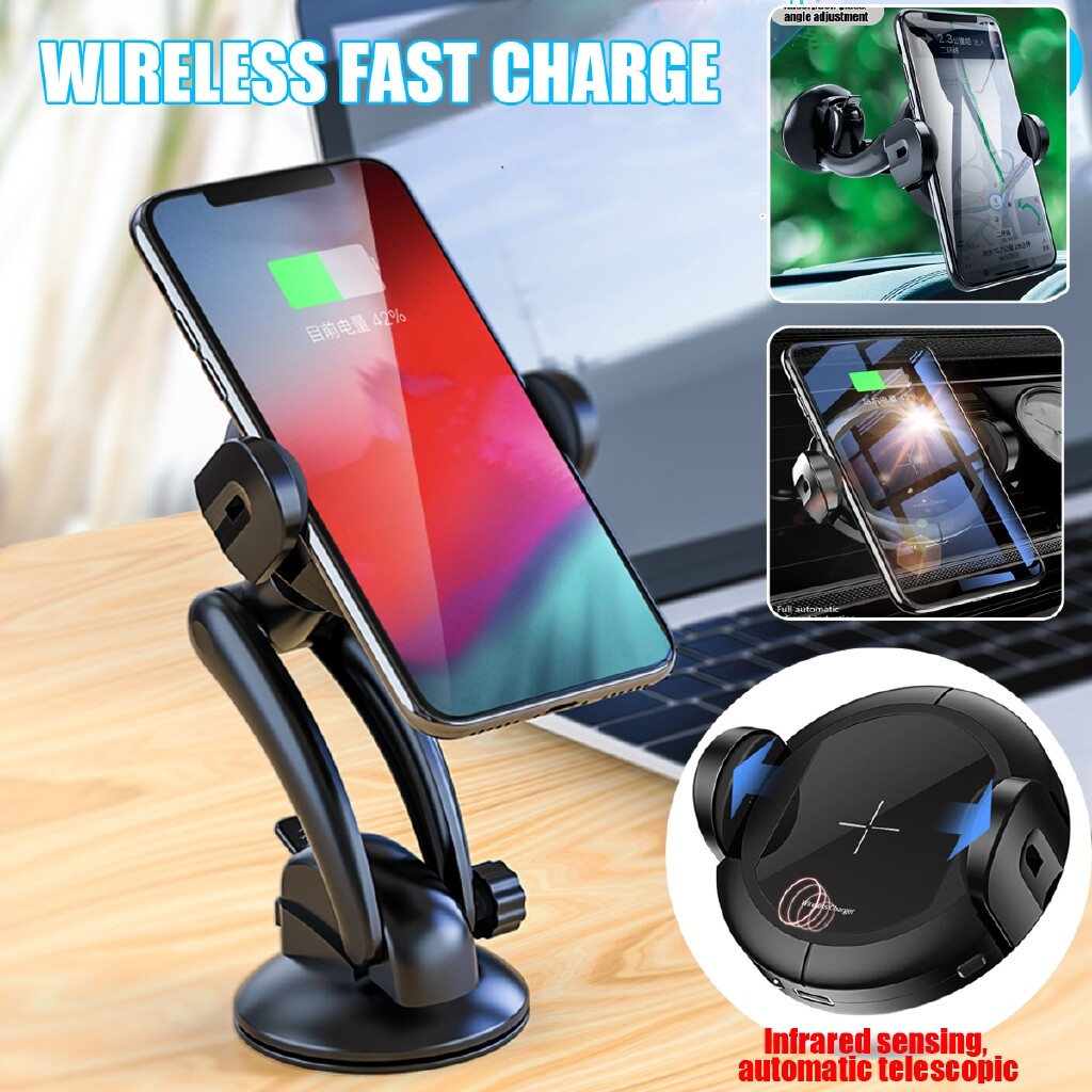 Chargers - 15W Qi Automatic WIRELESS Fast Charger Infrared Sensor Car Home Phone Charger - Cables