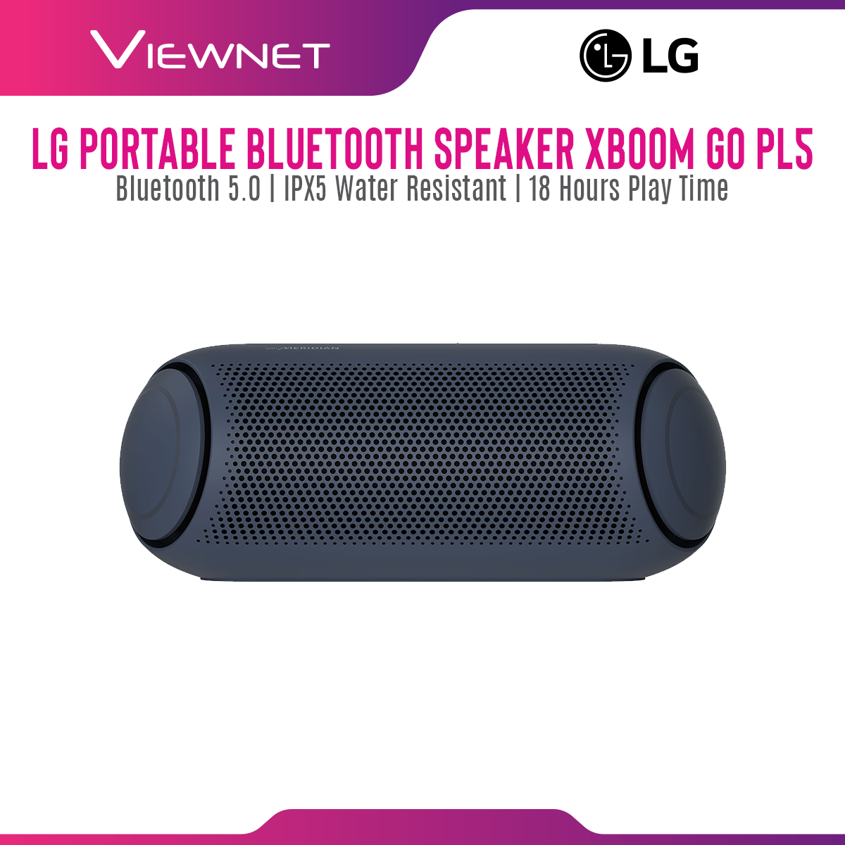 LG Portable Bluetooth Speaker XBOOM Go PL5 with Meridian Audio Technology, LG XBOOM Bluetooth App, IPX 5 Water-Resistant, Up To 18 Hours of Battery Life