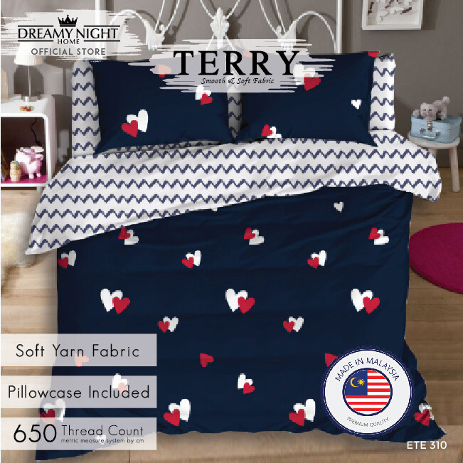[Comforter Set] Comfort Bay TERRY Fitted Set Super Single/Queen/King Bed Sheet Cadar - Pillow case Included 650TC High Quality Modern Design Korean Style Mattress Cover Soft &amp Comfortable Bedding Sets Cotton Feel Dreamy Night Dreamynight Comfortbay