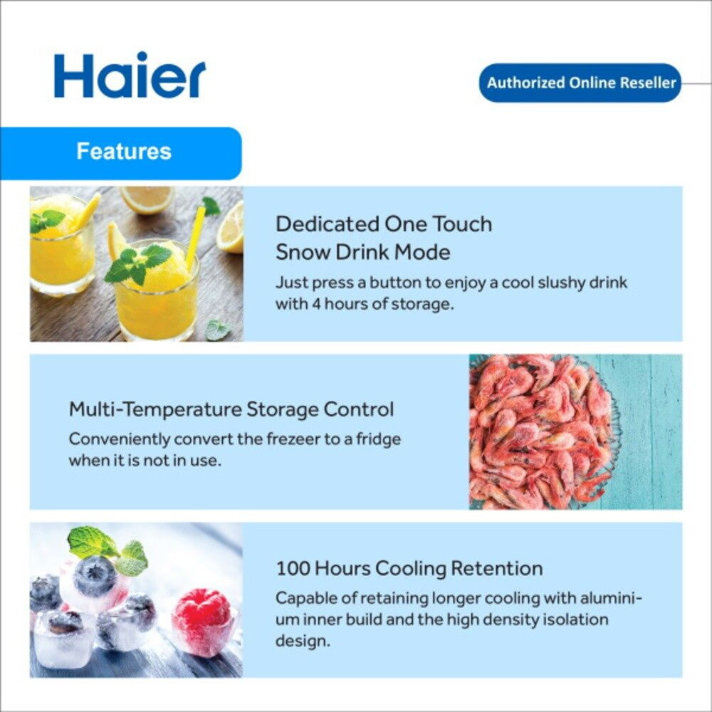[FAST SHIPPING] Haier 155L Snow Freeze Chest Freezer Refrigerator Digital Control 6 in 1 Convertible Cooling (Freezer Fridge) Haier Peti Sejuk SF-196 Deliver by Lorry Klang Valley & Semenanjung Malaysia