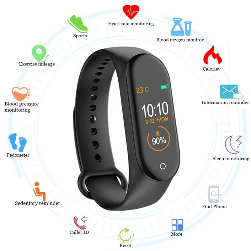 M4 Smart Band Fitness Tracker Watch Sport Bracelet Heart Rate Blood Pressure Monitor - BLACK / RED / BLUE