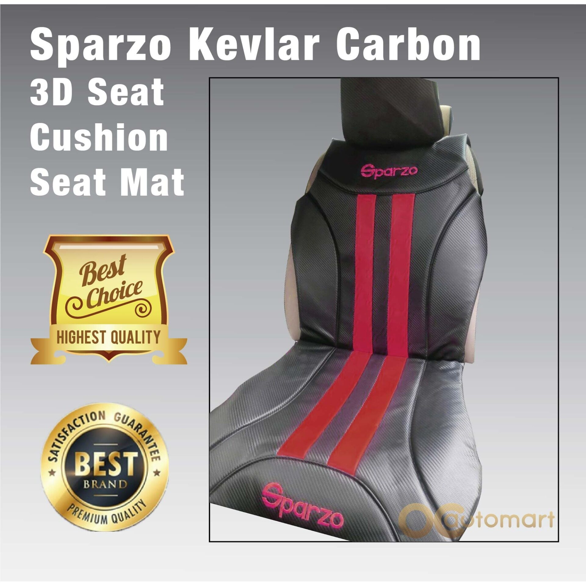 SPARZO Kevlar Seat Cushion Seat Mat Carbon Design 1 Pc MADE IN THAILAND (BLACK+RED) For PROTON SATRIA NEO
