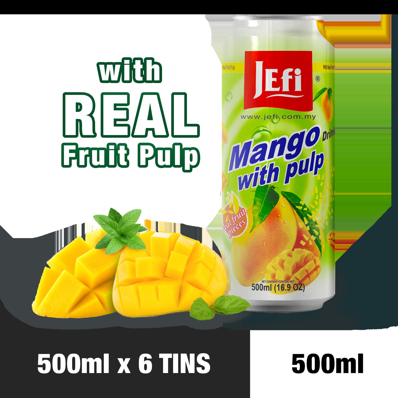 JEFI Mango Drink with Real Fruit Pulp (500ml x 6tins)