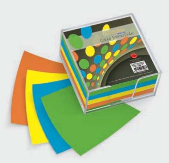 CAMPAP CA3998 102x102mm 400s 70gms COLOUR MEMO CUBE with TRANSPARENT HOLDER x 2units
