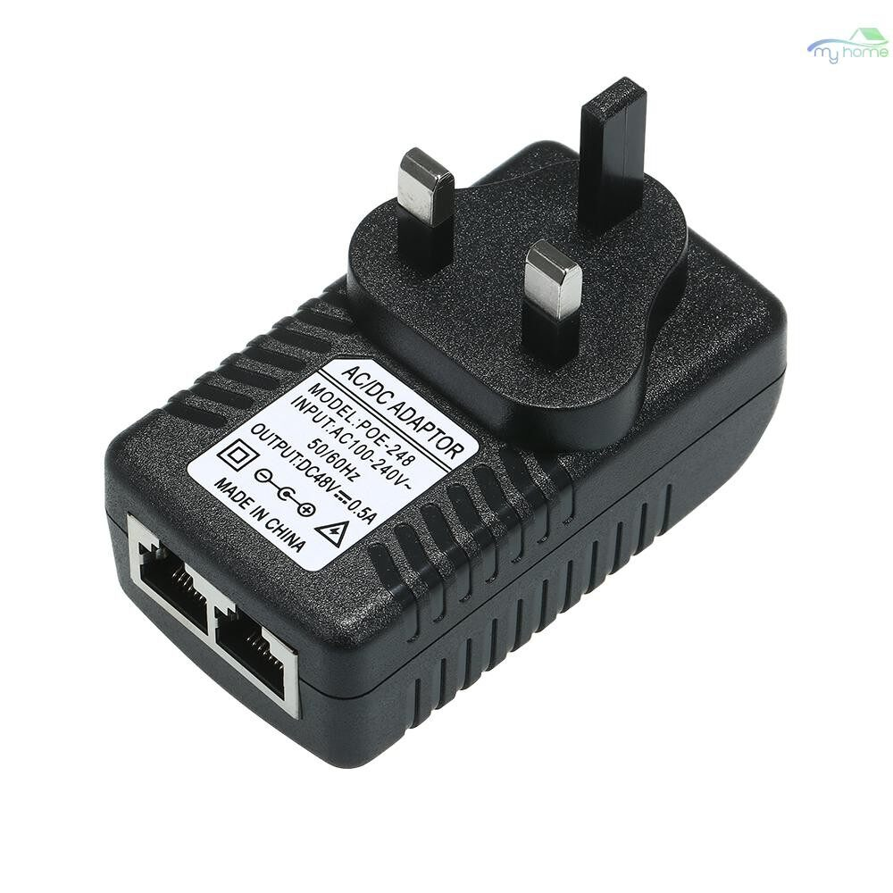 Monitors - POE Injector Ethernet Power Supply Adapter DC48V 0.5A 15.4W, POE pin4/5(+), 7/8(-) Compatible W/T - Computer Accessories