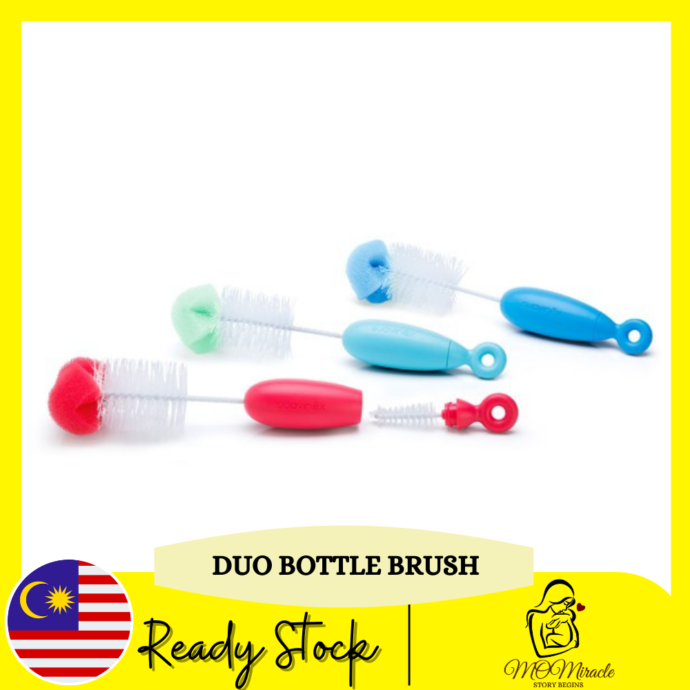 Suavinex Duo Bottle Brush 2 in 1 BPA Free 0+ Months Baby Bottle Deep Cleaning For Bottle and Brush Botol Susu Brush (Random Color)