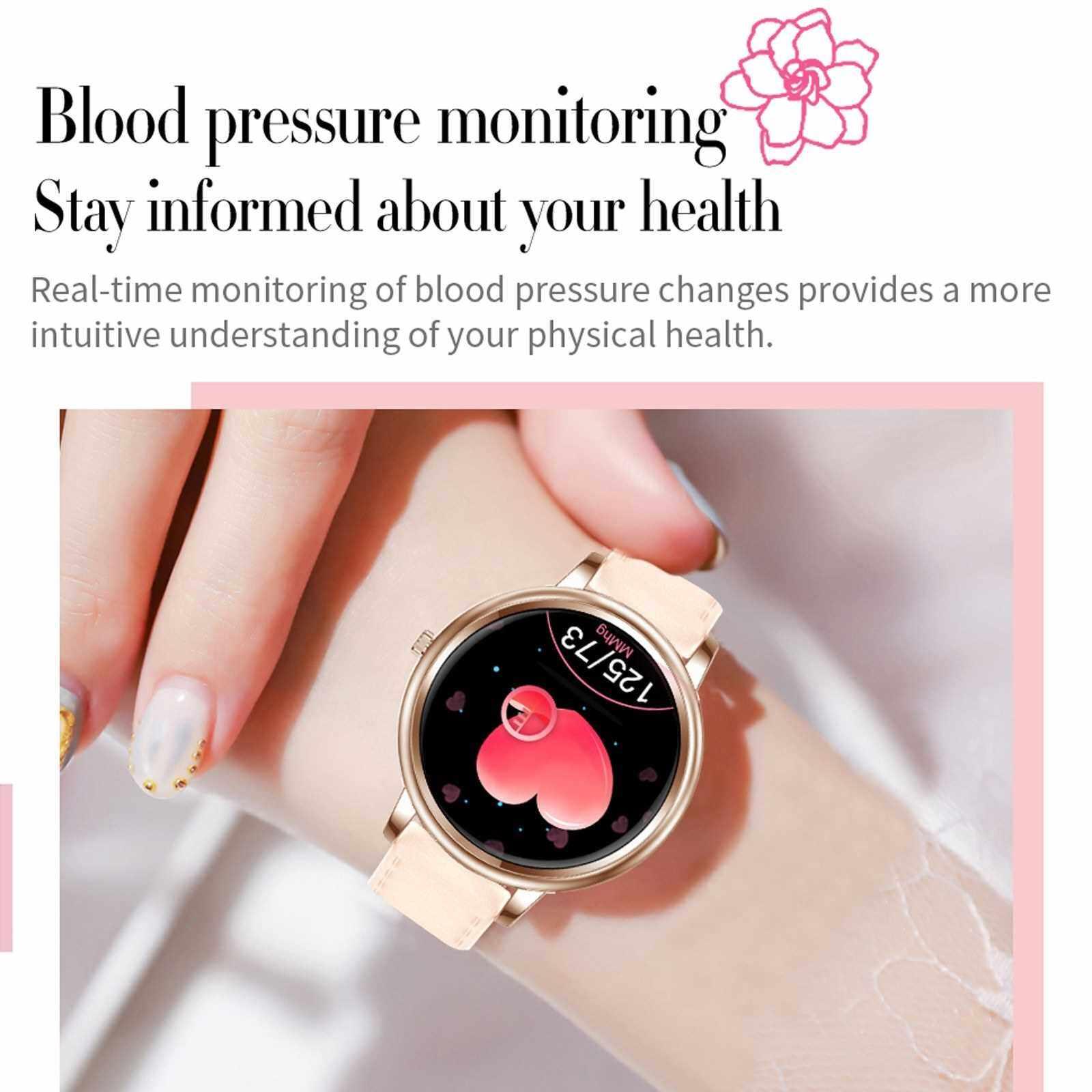 Women Smart Watch Fitness Tracker Bluetooth Bracelet Smart Sports Band Heart Rate Blood Pressure Sleeping Monitor Wristband Touch Screen IP67 Waterproof Information Reminder (Silver)