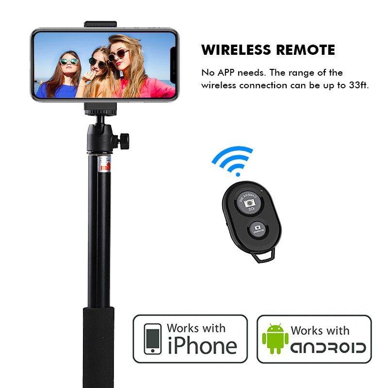 Tripods and Monopods - 360 BLUETOOTH Remote Control Selfie Stick Tripod Shutter Monopod Stand Holder - Camera Accessories