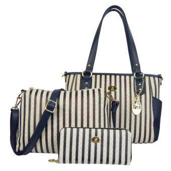 Harga 100% Original British Polo 3 in 1 Value Set Women Bag(PL61129-Blue)