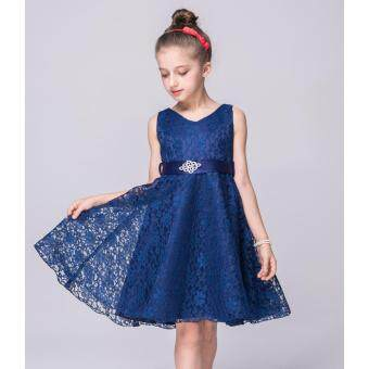 2-12 years old Pageant Flower Girl Dress Kids Birthday Wedding Bridesmaid Gown Formal Dresses(navy blue)