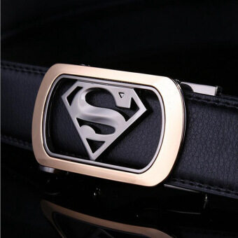 Harga 2016 Mens Luxury Brand Belt Business Belts Superman AutomaticBuckle Genuine Leather Belt Men Accessories Casual Waist Belt New