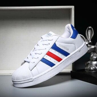 Harga 2017 Classic Inspired addidas Superstar Sneakers Canvas Shoes White-Blue