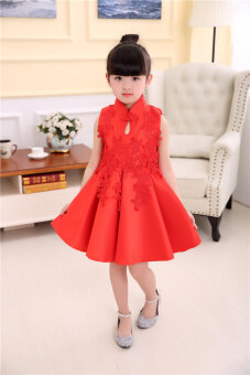 Girls' Dress Red (Single high-end embroidered dress) (Single high-end embroidered dress)