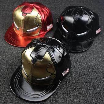 2017 Retail children Baseball Caps kid Hip hop cap Iron Man full leather street dance Boys