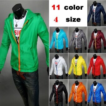Harga 2017men fashion casual hooded jacket windbreaker zipper coat (Green green) (Green green)