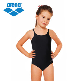 Harga Arena girls piece high-elastic simple and comfortable swimsuitchildren's sling swimsuit 75wj (BLK-black)