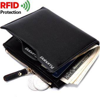 Baborry Men Wallet Fashion Pu Man Purse with Zip Coin Bag RFID Theft  Protection 42746fad7f