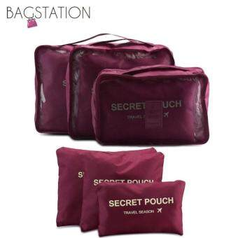 Harga Bagstationz Set Of 6 Pieces Travel Clothes Bag And Items Pouch(Maroon)