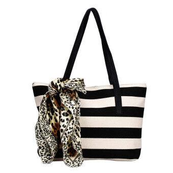 Big Striped Plaid Ladies Handbags Shoulder Bags Clutches Women Bag Black - Intl