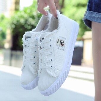 BIGCAT women girls sports canvas shoes students sneakers white shoes